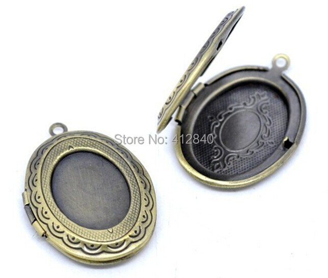 Picture /Photo Oval Locket Frame Pendants 34x24mm Jewelry Findings