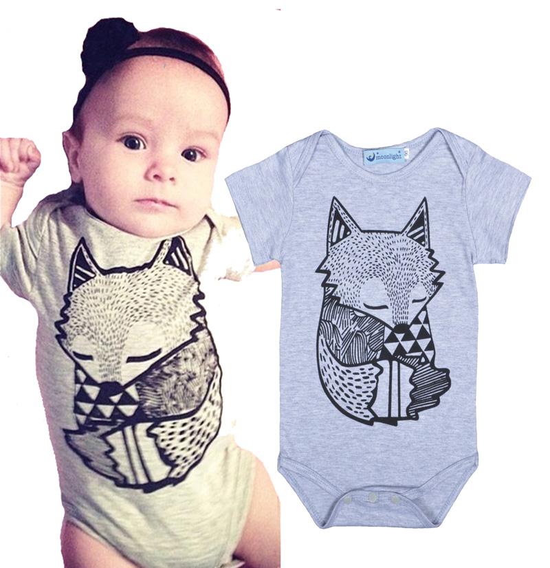 Retail New 2016 Summer newborn Baby Boys&Girls Infant Rompers Cartoon Little Fox Figure Short-sleeve Clothes Set roupinha bebe(China (Mainland))