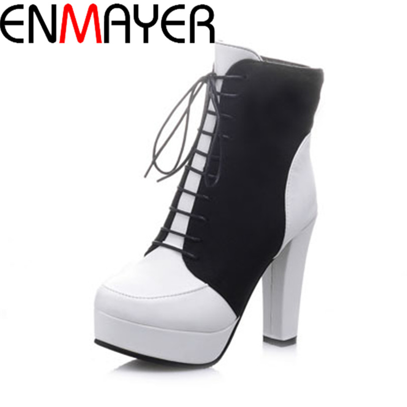 ENMAYER new 2014 fashion lace-up martin boots for women fashion mid-calf boots hot sale thick high heels autumn boots<br><br>Aliexpress