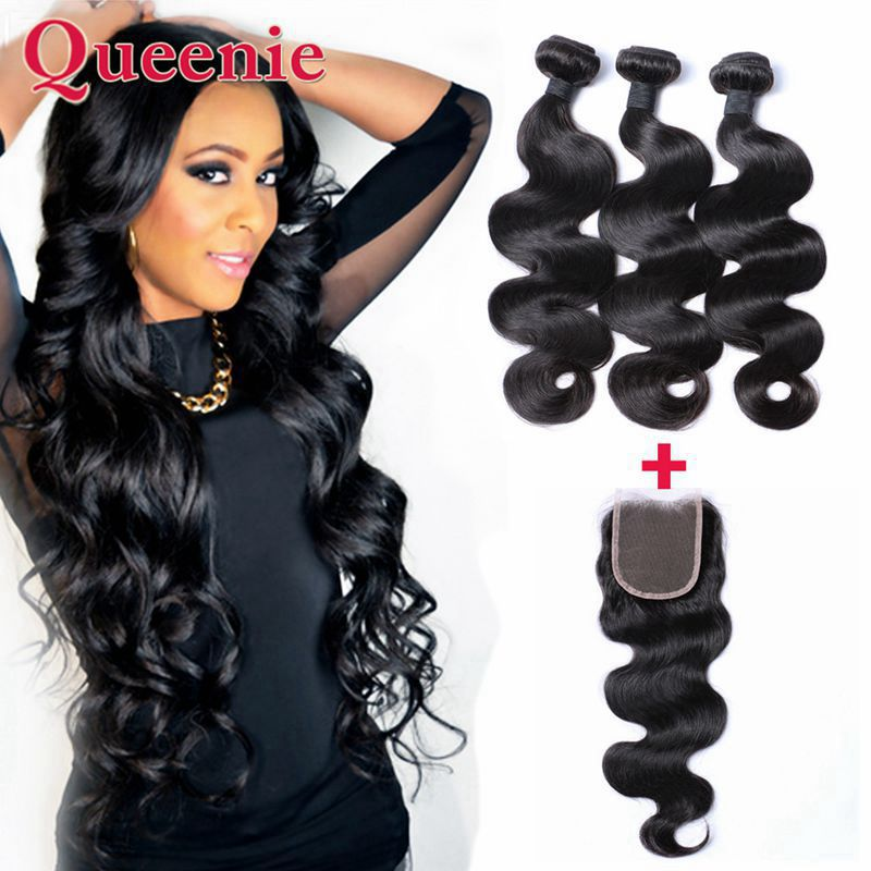 Grade 7A Brazilian Hair With Closure 3Pcs Hair Bundles With Lace Closures Brazilian Body Wave With Closure Cheap Human Hair<br><br>Aliexpress