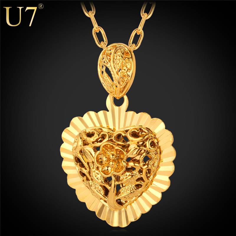 Love Heart Pendant Necklace 2015 New Trendy 18K Real Gold Plated New Hollow Heart Necklaces & Pendants For Lovers Jewelry P536(China (Mainland))