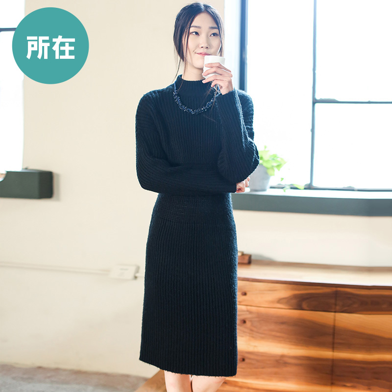 LIEBO 2015 Winter New Arrival Warm Turtleneck Dress Vintage Solid Slim Waist Long Section Normcore Women Clothing 53150343Одежда и ак�е��уары<br><br><br>Aliexpress