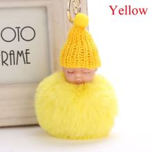 2018 Bonito do Sono Do Bebê Boneca Pompom Faux Rabbit Fur Bola Chaveiro Brinquedo de pelúcia Pingente De Pele Macia Saco Chaveiro Pendurar Bebê Brinquedos de Pelúcia(China)