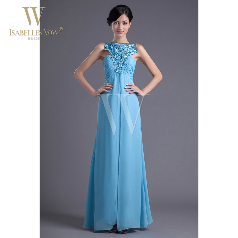 Women Fashion Evening Dress Amazing Blue Chiffon High Neck Sleeveless Line Can Customized WD026 - Sichuan Province WUWEIDU Commercial And Trading Co., Ltd. store