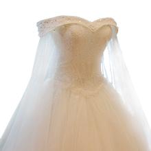 Luxury High-grade SSYFashion Crystal Beading Lace Wedding Dress Custom Bride Princess Embroidery Boat Neck A-line Wedding Gown(China (Mainland))