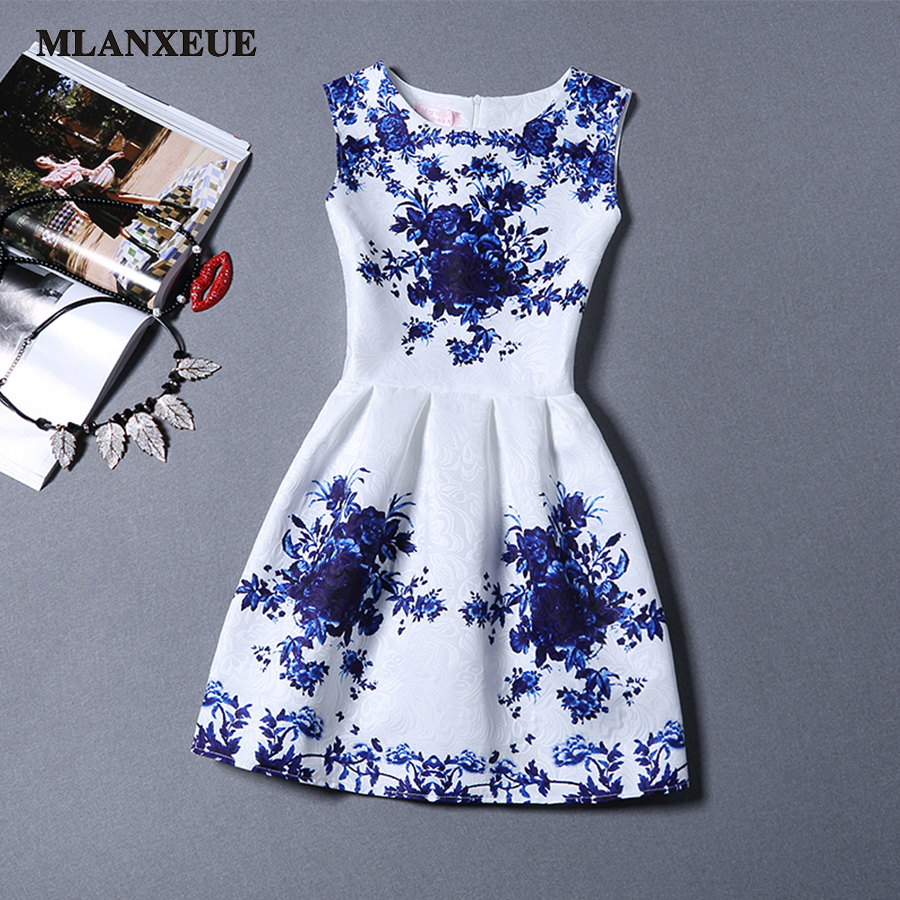 Women Fashion Dress Retro leisure Printing Sleevel...