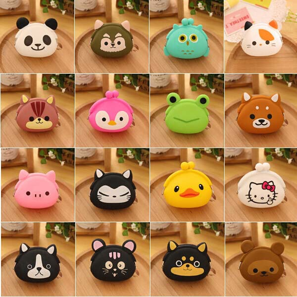 Korean Candy Colored Bags Wallets Cute Cartoon Silicone Coin Purse Women Kids Girl Gift(China (Mainland))