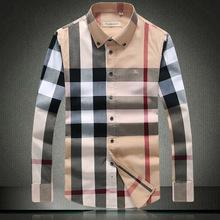 2015 men  autumn and winter long-sleeved shirt men  Slim version installed station Classic plaid cotton shirt(China (Mainland))