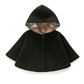 2016 winter autumn fashion children s cotton black red hooded cloak baby girls cape pattern kids