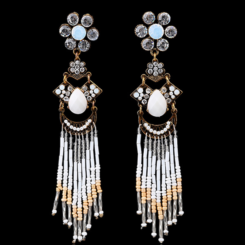 Gold & Silver Plated Earring Inlay Rhinestone Crystal Beads Tassel Drop Chains Stud Earrings Women Fashion Jewelry - KAYMEN JEWELRY CO,.LED. store