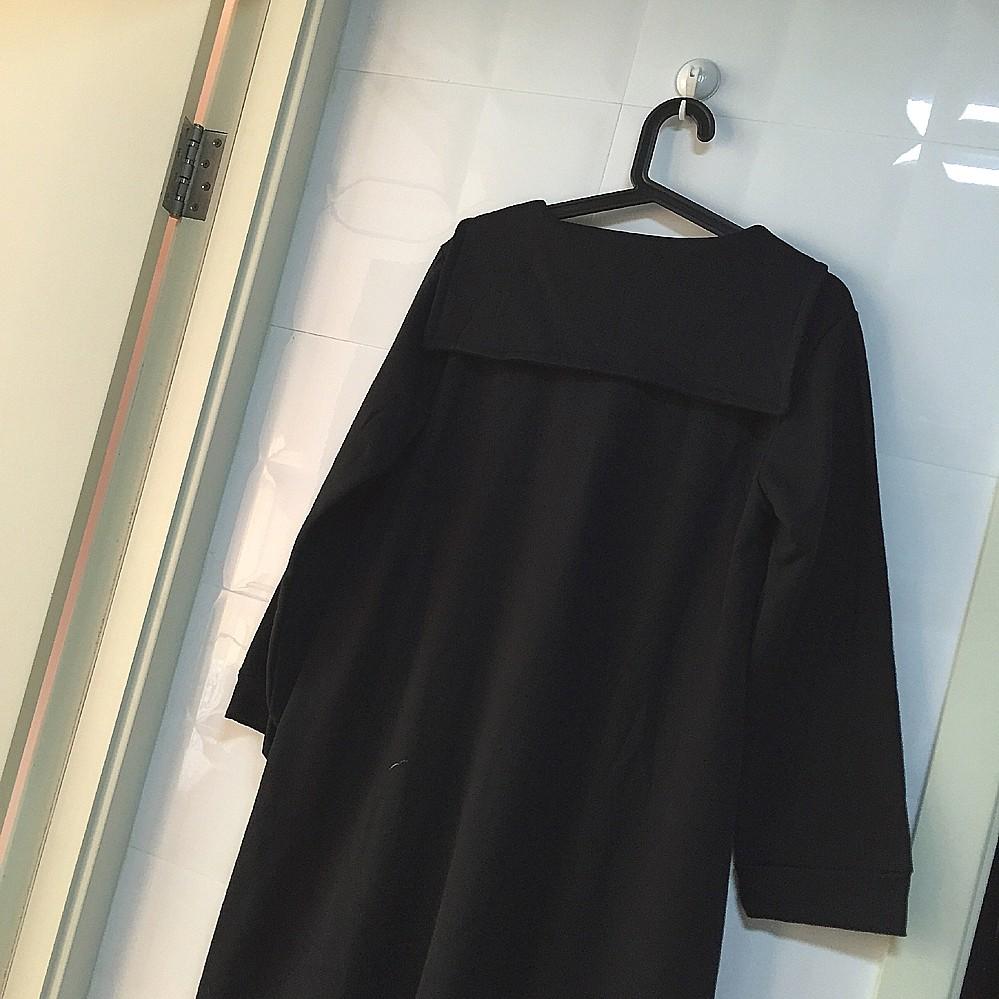 2016 autumn winter woman Japanese student sailor uniforms long dress with tie academic school uniforms pleated black loose dress