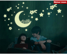Fluorescent luminous stickers Star moon 3D bedroom wall sticker Children's room 3D Removable Wall Stickers(China (Mainland))