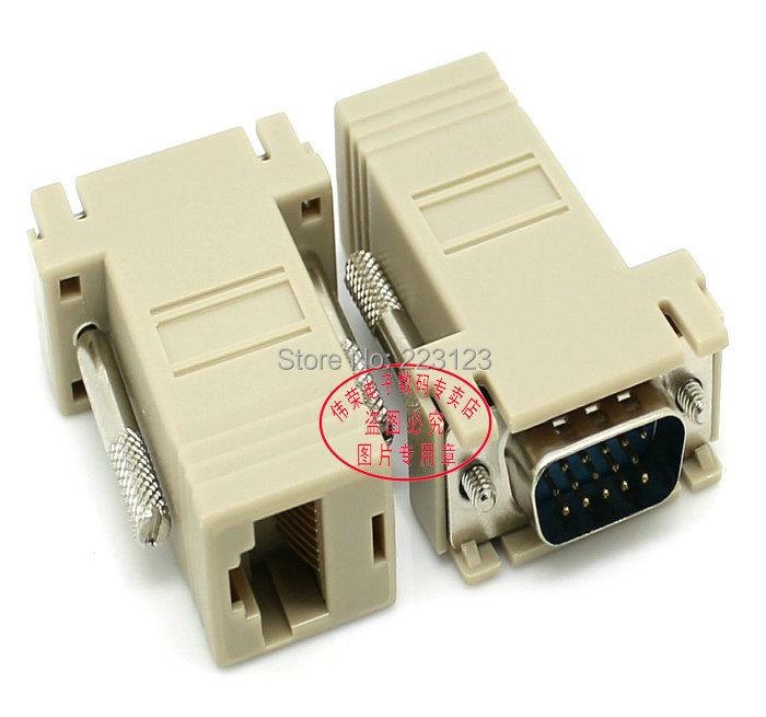 VGA male turn to RJ45 port female converter plug Transfer VGA signal data via RJ45 Ethernet Line VGA to Internet network cable(China (Mainland))