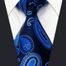 Extra long size Paisley Navy Dark Blue Mens Neckties Ties 100% Silk Jacquard Woven Suit Gift Men Fashion hanky - shlaxwing store