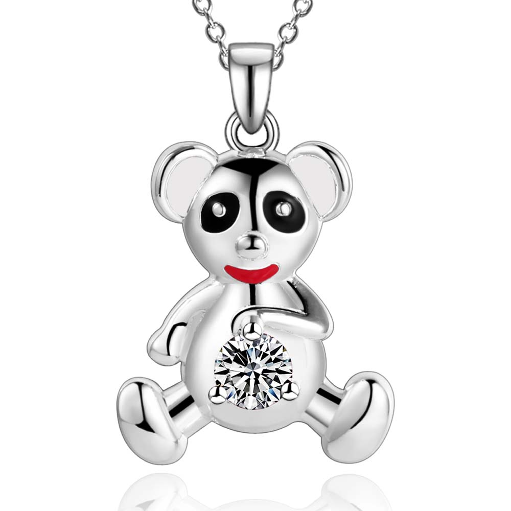 3 colors! Wholesale Bear necklace For Men/boy/girl Pendant Fine Crystal Cute Bear Necklaces Pendants for Women and Men AN1676(China (Mainland))