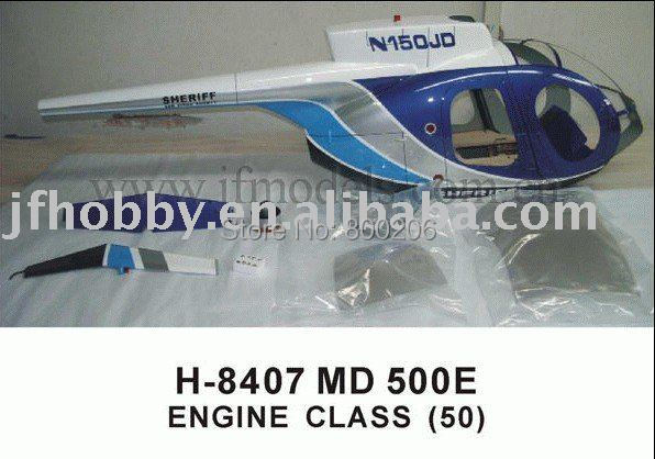 rc gas  Helicopter AIRWOLF fuselage MD 500E wolf engine class (50)
