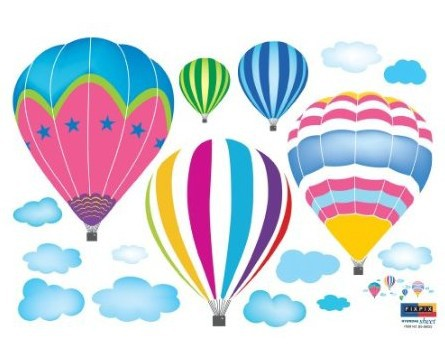 (13x24) Hot Air Balloons in the Sky Wall Decal