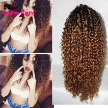 150% density two tone human hair wig #1b/#30 ombre lace front wig Kinky Curly lace wig mongolian human hair wig for black women(China (Mainland))