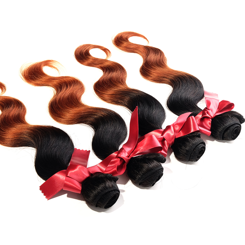 EVET Ombre Brazilian Virgin Hair Body Wave Human Hair Extension 4 Pcs Lot Hair Product two tone T1B/30 Blonde Hair Weave Bundles<br><br>Aliexpress