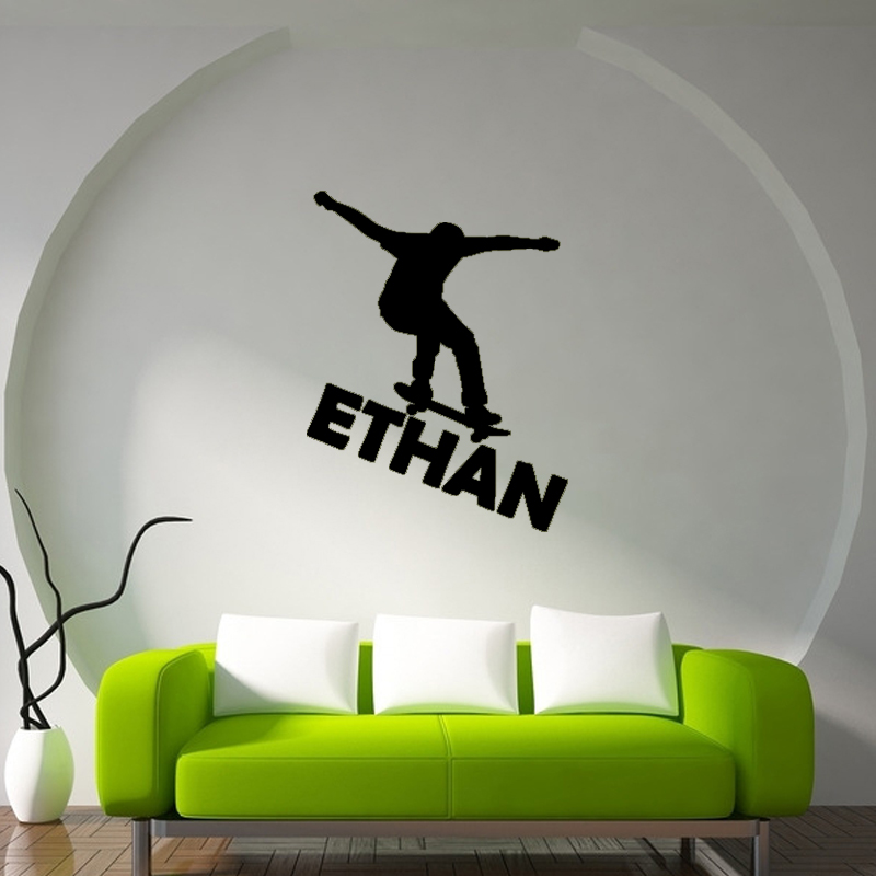 SKATEBOARD SKATER PERSONALIZED CUSTOM NAME Bedroom Vinyl Wall Decal Lettering(China (Mainland))