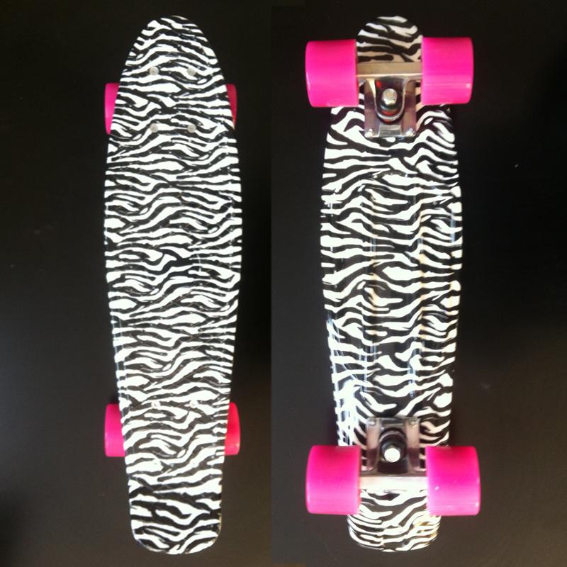 Zebra Printed Plastic Mini Cruiser Skateboard 22 X 6 Retro Longboard Skate Long Board Complete No Assembly Required<br><br>Aliexpress