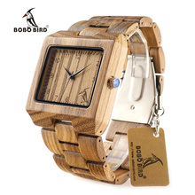 BOBO BIRD L26 Square Zebra Wood Bamboo Men's Top Quartz Casual Brand Watch relogio masculino With Leather Strap For Gift(China (Mainland))