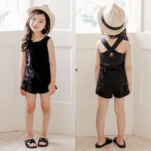 2015 children's clothing set summer female child cross casual vest shorts set child set kids clothes girls clothing sets(China (Mainland))