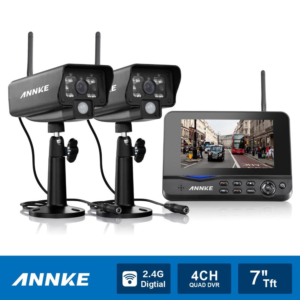 "ANNKE 7"" TFT LCD DVR 4CH Digital Wireless Monitor wifi CCTV Home Security Camera System Surveillance kits(China (Mainland))"