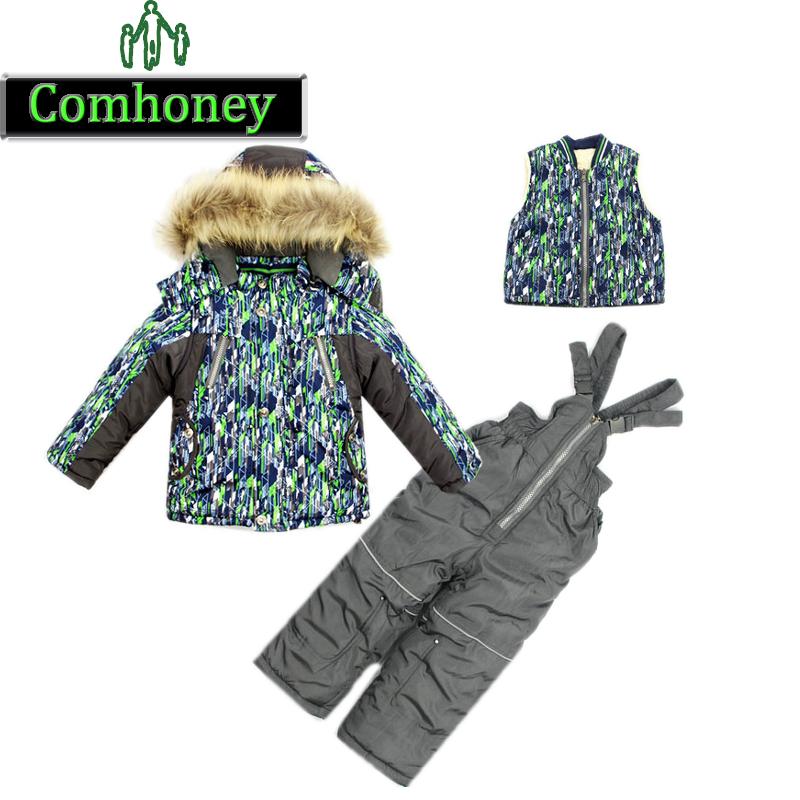 Boys Ski Suit Kids Children Winter Windproof Set 3 PCS Down Cotton Jacket Pants and Vest Warm Thikening Fleece Coat Hoodies(China (Mainland))
