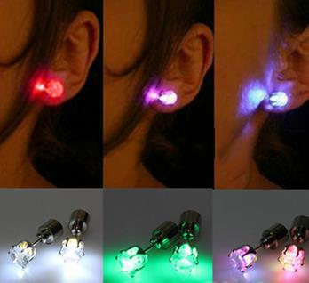 2015 One Pair Light Up Led Stainless Steel Earrings Studs for Xmas New Year Men Women Sale For Party Dance Jewelry Accessories(China (Mainland))