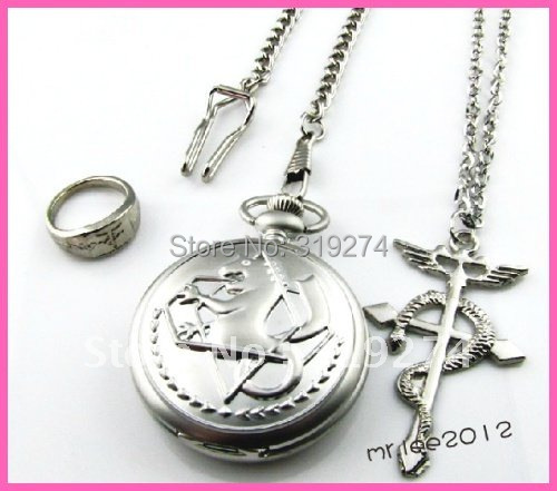 Wholesale/Retail 2014 Fashion Full metal Alchemist Pocket Watch + Necklace + Ring Set Cosplay Free Shipping New Without Box(China (Mainland))
