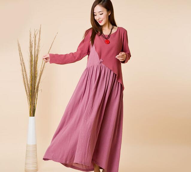 2016 Summer Girl Long Sleeve Dress Cotton Vintage Robe Moulante UK Style Vestidos Mujer Casual Navy Blue Grey Pink Free Shipping(China (Mainland))