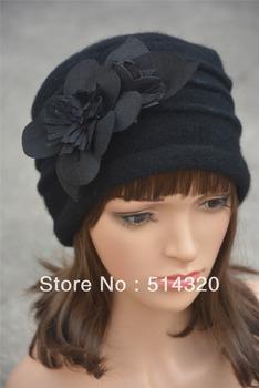 A123 черный войлок цветок отделан женщин теплее шерсть шапочка Cap платье крючком ...