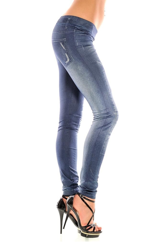 Girls fashion New Stylish Gray Faux Jean Denim Like Women Leggings Pants HB88