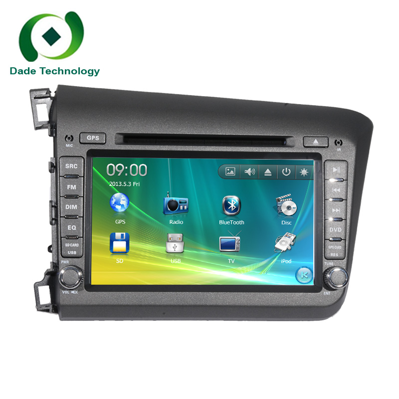 For Honda CIVIC 2012 2 din CAR dvd player car dvd gps Radio Navigation stereo with steering wheel control bluetooth swt SD USB(China (Mainland))