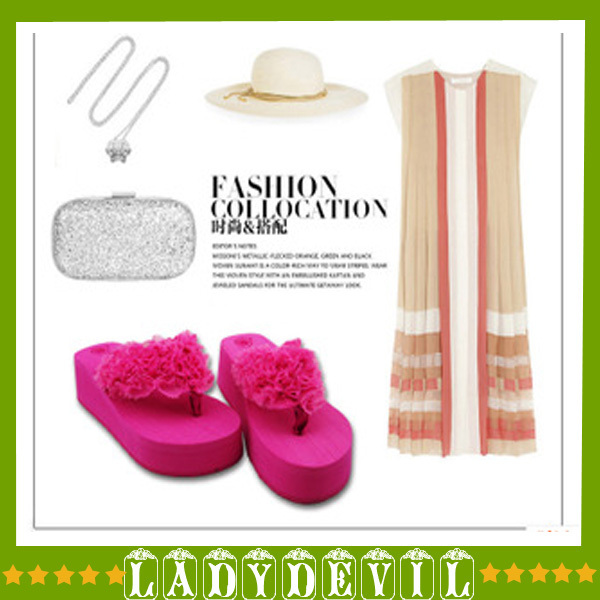 2015 Bohemia Summer Beach Flip Flops Flat Slippers Leisure Sandals slides Wedge Lady 2 color 36-39 - LADY DEVIL store