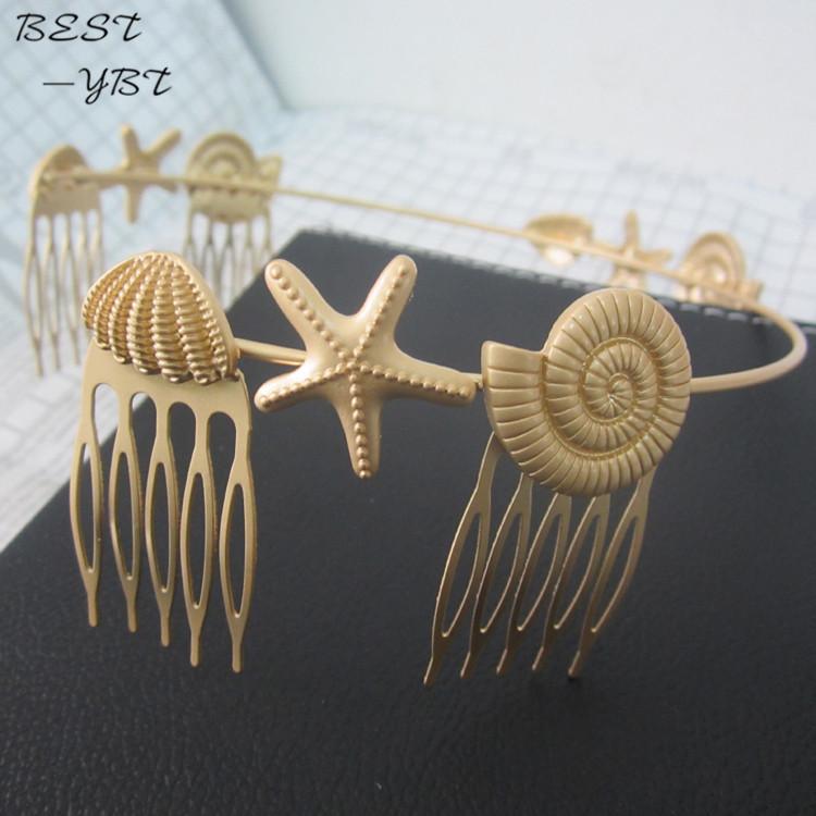 New gold starfish hair combs for women fasion hair jewelry 2015 marine organism hairbands bridal punk hair accessories(China (Mainland))