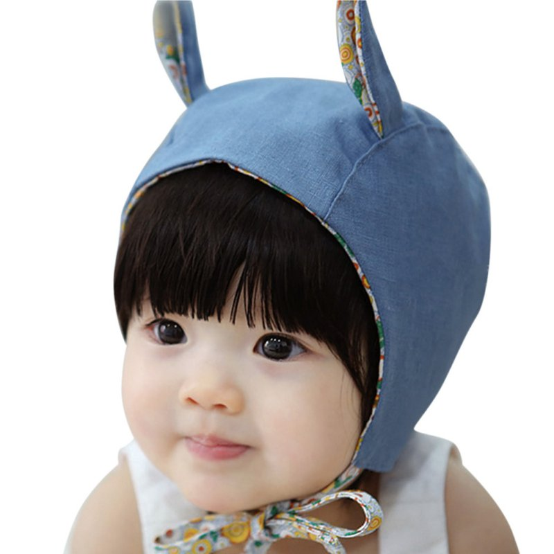 2016 Cute Rabbit Long Ear Baby Caps for Girls Cotton Lace-up Hat Kids Bonnet Enfant Blue/Beige for 0-2 Years(China (Mainland))