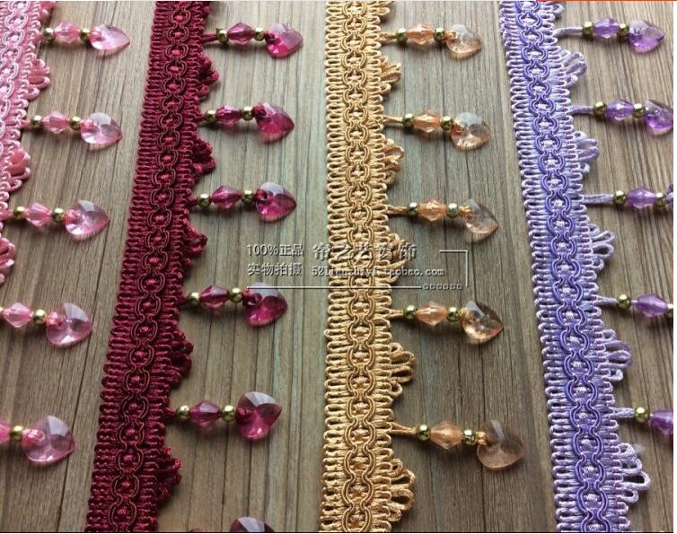 12meter/Lot Curtain Lace Accessories Tassel Fringe Trim DIY Love Beads crystal bead Drapery Sewing Textile Decoration E22(China (Mainland))