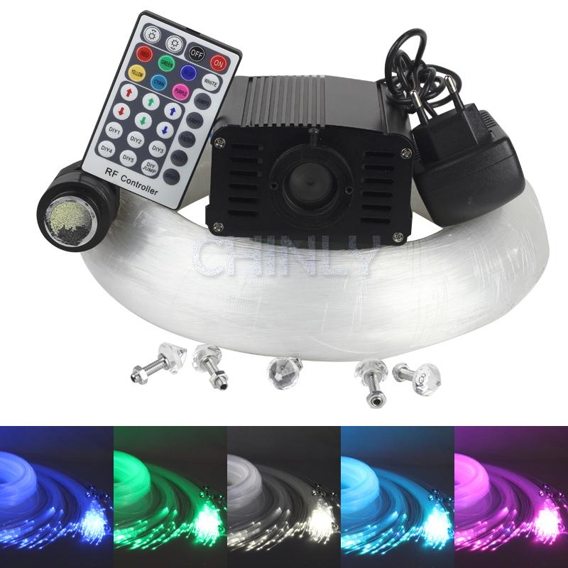 2015 NEW 16W RGBW LED fiber optic star ceiling kit, mixed 340 strands 4m , 0.75mm+1.0mm+1.5mm + crystal +28key RF Remote(China (Mainland))