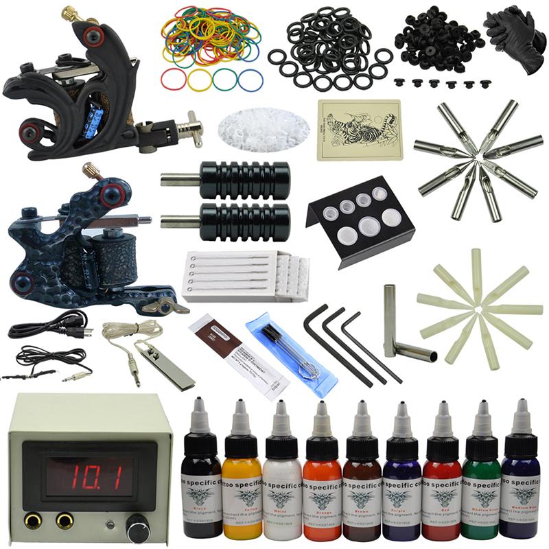 OPHIR 2 Rotary Tattoo Machine Guns Set Tattoo Kits for Body Art Equipment 9 Tattoo Ink Pigment Power Supply #TA071<br><br>Aliexpress