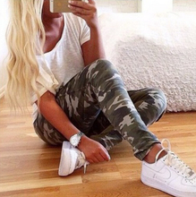 Women summer Pants 2015 Fashion Slim Elastic Camouflage Pants Casual Trousers Military Pants Pencil Pants F2334