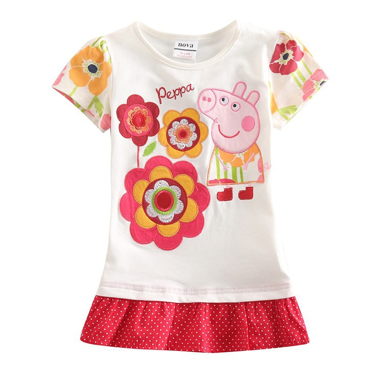 Nova 2014 new T-shirts 100% cotton 5pcs/lot 18/6y  tunic top peppa pig embroidery for girl casual FREE SHIPPING K4379#<br><br>Aliexpress