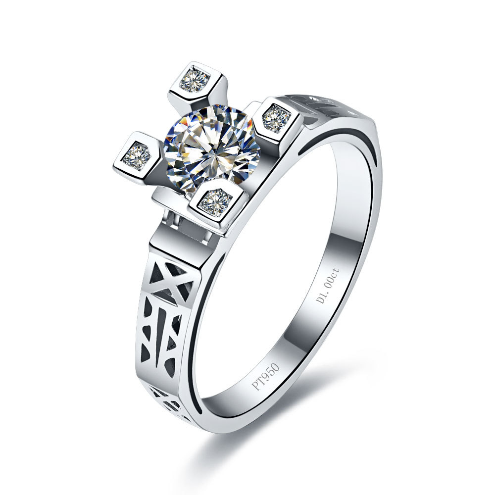 Unique ct eiffel style synthetic diamond ring anniversary for wife platinum plated women
