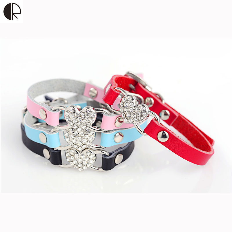 Freeshipping Colorful Hearted Charm Dog Collar Chihuahua Leather Harness and Leash Sets for Puppy and Kitten Cat HP656(China (Mainland))