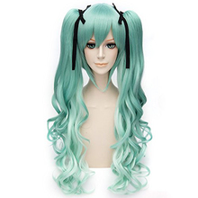 Free Hair Cap + Vocaloid Miku Cosplay Wigs With Two Ponytails Costume Lolita Party Wig (curly green)(China (Mainland))
