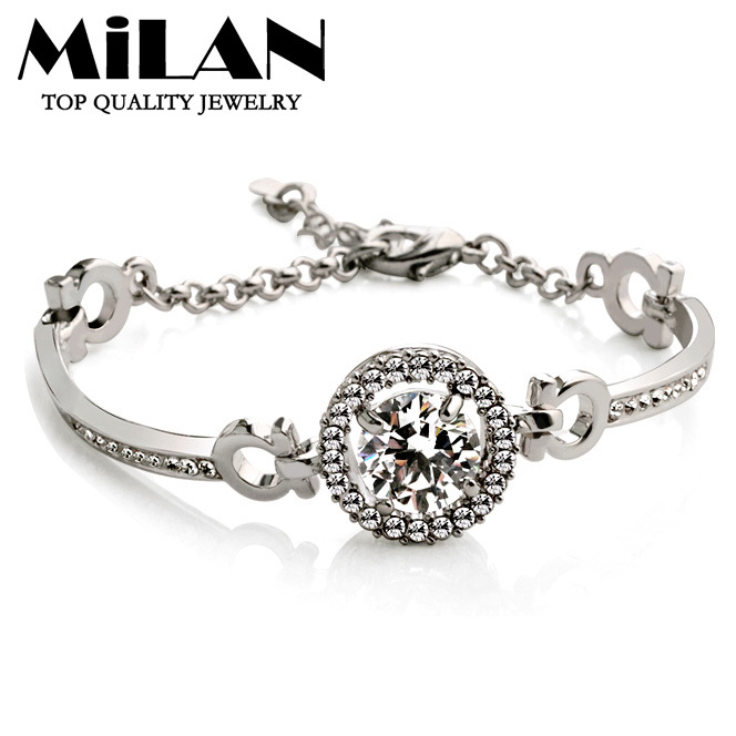 (Min order $15)Free Shipping Luxury Platinum Plated 10 Karat Shine Zirconia Bracelets For Women Fashion Jewelry(Milan MJ0343)<br><br>Aliexpress