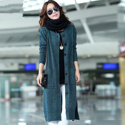 2015 New Fashion Women Spring Autumn X-Long O-Neck Long Sleeve Single Breasted Plus Size Casual Knitted Coat Cardigans LJ1591