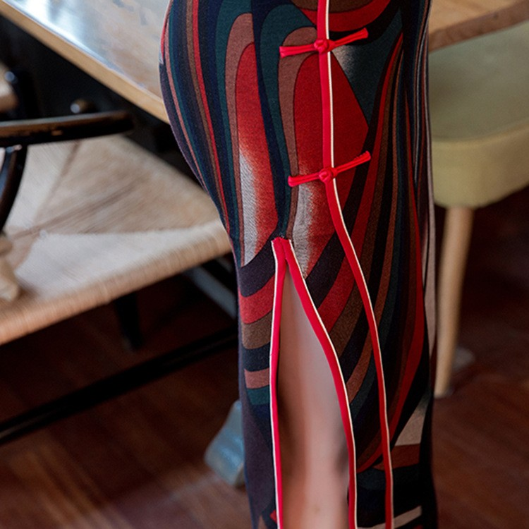 2017วินเทจสตรีผ้าฝ้ายยาวCheongsamจีนแฟชั่นสไตล์การแต่งกายที่สวยงามQipaoขนาดSml XL XXL XXXL F101315 ถูก