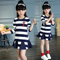 Girls 2016 new striped dress girl
